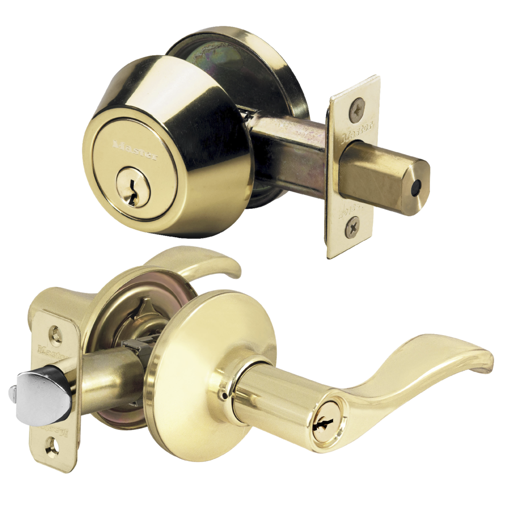 Polished Brass Wave Lever Entry And Single Cylinder