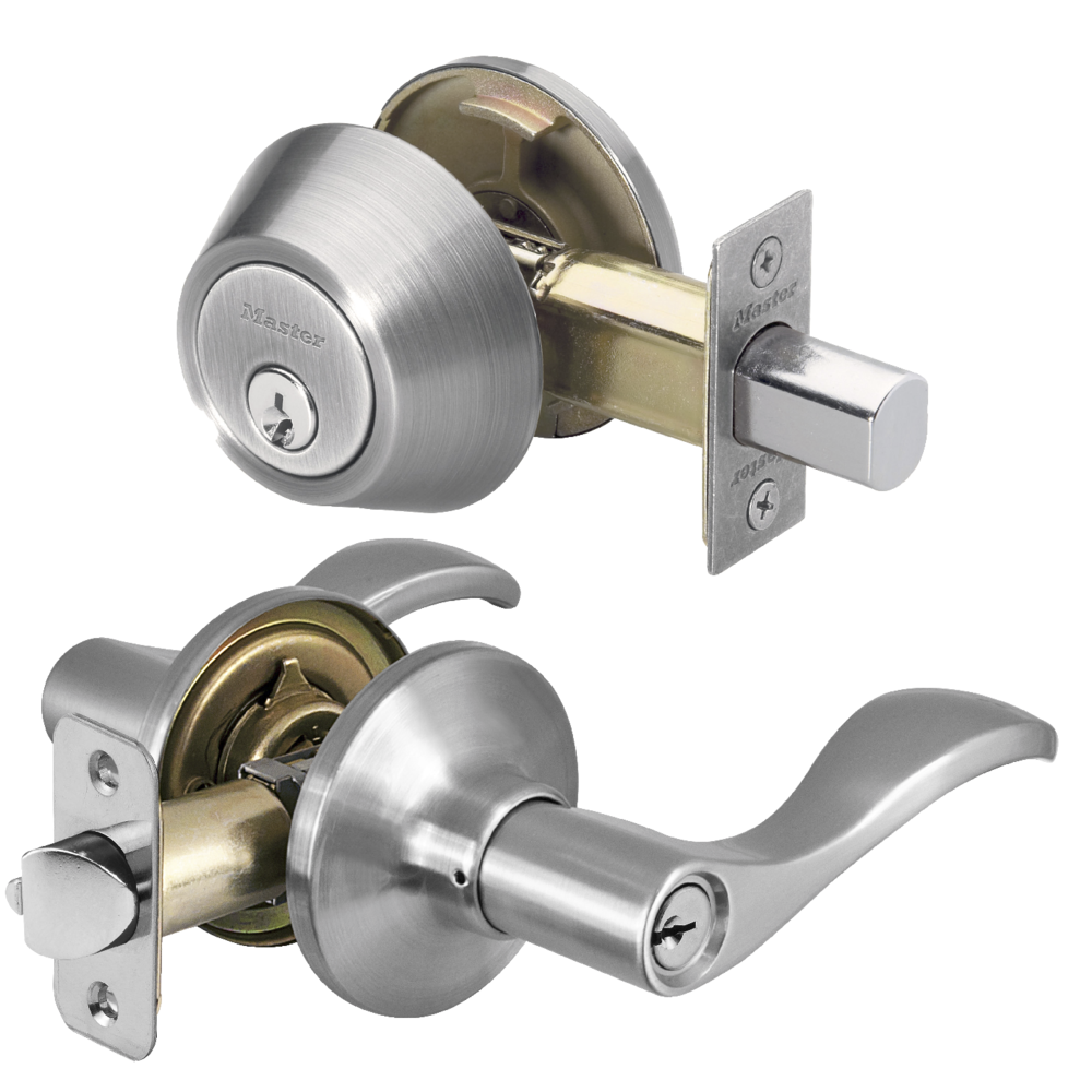 Satin Nickel Wave Lever Keyed Entry With Schlage